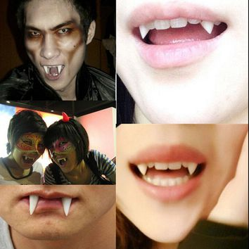Hot 4 PCS Novelty Gag Toys Dress Vampire Teeth Halloween Party Dentures Props Vampire Zombie Devil Fangs Tooth
