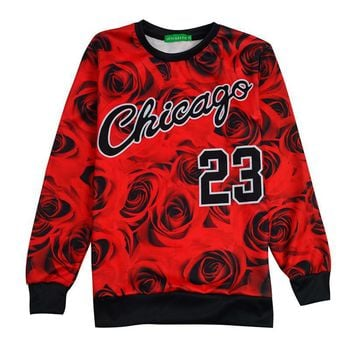 Hot Sale Rose Print Chicago 23 Round Neck Sweatshirt Men Women Jordan 23 Rose Floral F