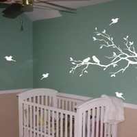 FREE SHIPPING! Tree Branch with 10 birds Wall Decals Sticker Nursery Decor Art Mural