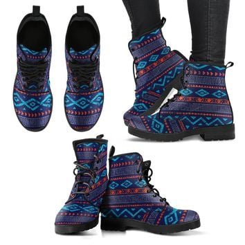 Aztec Blue Woman's Leather Boots