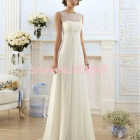 Vestido De Noiva US Size 2-22 White/Ivory Appliques Pearls Chiffon Lace A-Line Wedding Dress Wedding Gowns