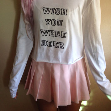 Wish You Were Beer Long Sleeve Crop Top