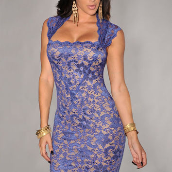 Blue Lace Nude Illusion Sleeveless Bodycon Mini Dress