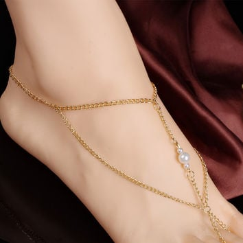New Arrival Sexy Gift Stylish Shiny Cute Jewelry Ladies Hot Sale Summer Scales Pearls Anklet [7241006855]
