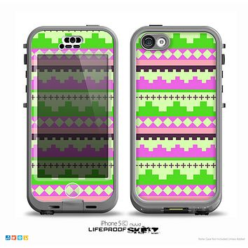 The Lime Green & Pink Tribal Ethic Geometric Pattern Skin for the iPhone 5c nüüd LifeProof Case