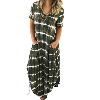 Casual Women Long Dress Spring Summer Maxi Dress Short Sleeves Beach Dress Ladies Boho Striped Dress Vestidos WS6221T