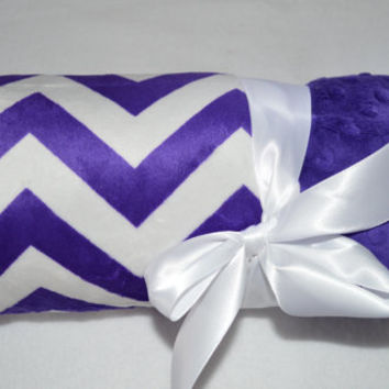 Monogrammed Chevron Baby Blanket - Minky Purple Zig Zag - Personalized Girl