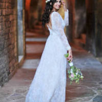 Spring Lace Wedding Dresses Long Sleeves Country Bridal Dress Gowns 0 2 4 6 8 10