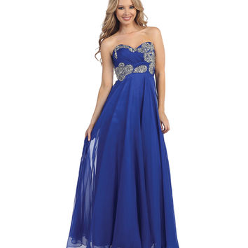 Royal Blue Empire Waist Strapless Beaded Ruched Gown Prom 2015