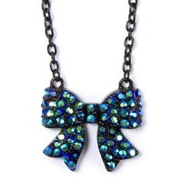 Blue and Black Crystal Bow Pendant Necklace  | Claire's
