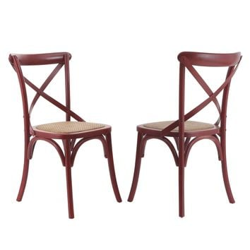 Set of 2 X-Back Red Elm Wood Vintage-Style Dining Chairs