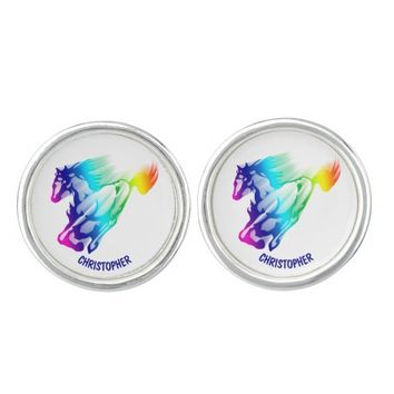 Running Rainbow Horse With Motion Trail Cufflinks