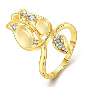 Gold Plated Floral Orchid Covered with Jewels Ring