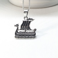 Viking Ship Necklace Sterling Silver Viking Necklace - Viking Pendant 925 Silver Scandinavian Jewelry Ship Pendant