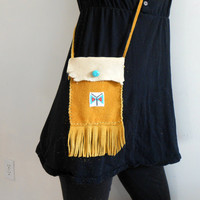 Leather Fringe Crossbody Bag, Small Purse with Handbeaded Butterfly, Hippie, Boho, Gypsy, Turquoise, Gold, Mountain Man, Rendezvous, Native