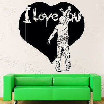Wall Stickers Vinyl Decal I Love You Romantic Decor With Heart Bedroom (z2208)
