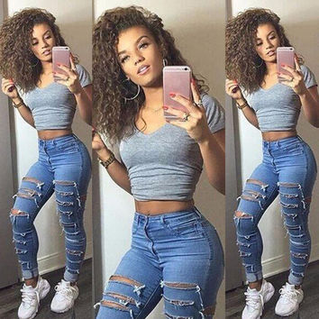 Jeans Womens High Waisted Women Ladies Clothing Pants Hole Ripped Knee Skinny Jeans 6 8 10 12 14 16