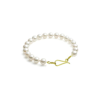 Freshwater Pearl Bracelet With Gold Tone Clasp