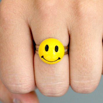 Smiley Face Yellow Plastic Adjustable One Size Ring