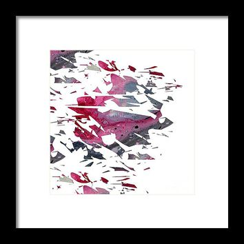 Abstract Acrylic Painting Broken Glass Red,black And White Framed Print