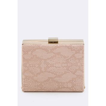 Pink Snake Skin Printed Box Clutch