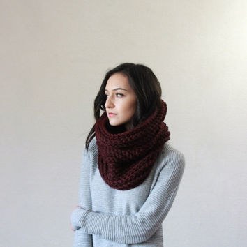 SPRING SALE The Bordeaux, chunky ribbed neckwarmer cowl - CLARET