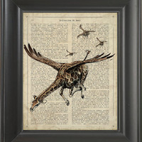 A flying Giraffe - Printed on love page  -  250Gram paper.