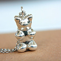 Gummy Bear Pendant Little Bear Sterling Silver Teddy Bear Pendant Necklace Funny Sweet Gift Geek Gift