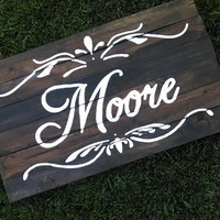 Rustic Dark Brown Barnwood Scroll Last Name/ Monogram/ Customization wall art/photo prop/ party sign