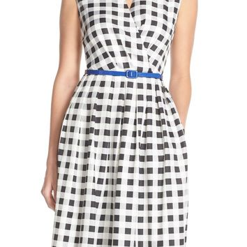 Ellen Tracy Gingham Twill Fit & Flare Dress (Regular & Petite) | Nordstrom