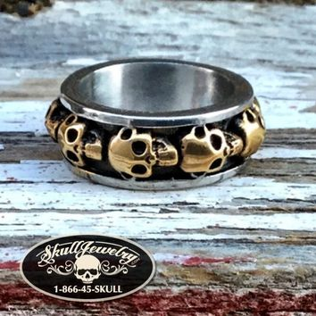 'Round & Round' Gold/Stainless Skull Ring (314)