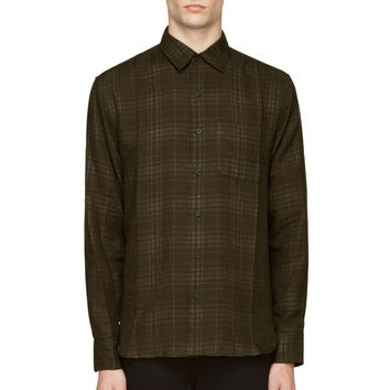 Rag And Bone Olive Green Faded Plaid Beach Shirt
