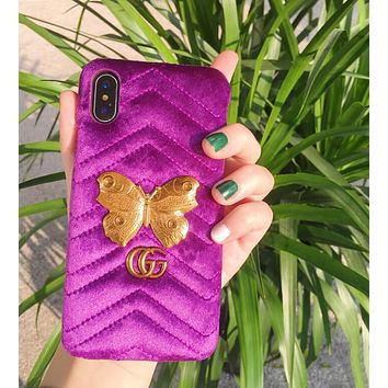 """Hot Sale """"Gucci"""" Fashion Velvet iPhone 6 plus iPhone X Personality Butterfly Pattern iPhone Shell Couple Phone Case Purple"""