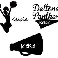 Personalized Sports Car Decal - Cheerleading, Cheerleader, Megaphone