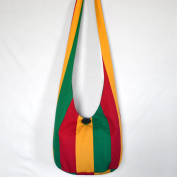 Hobo Bag, Sling Bag, Stripes, Rasta, Red, Green, Yellow, Rasta Colors, Hippie Purse, Cross Body Bag