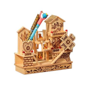 Nice Wooden Villa-Shaped Music Decoration Clockwork Music Boxes