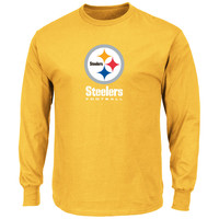 Mens Pittsburgh Steelers Gold Critical Victory VIII Long Sleeve T-Shirt