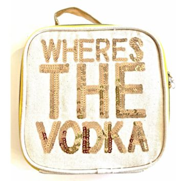 Where's the Vodka Lunch Set in Canvas and Gold Sequins