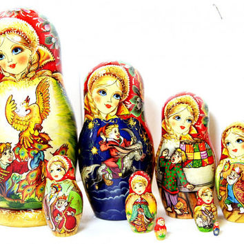 Matryoshka 10pcs 10 inch 25cm Nesting Doll, Russian doll, Russian matryoshka doll, Nested doll, Matrioshka, Matroschka – The Firebird kod321
