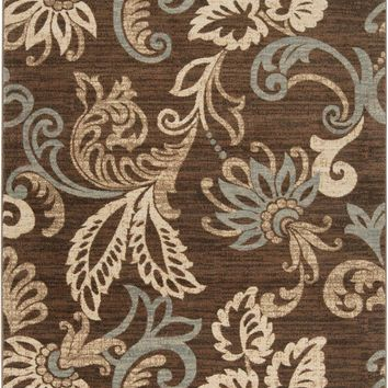 Riley Floral and Paisley Area Rug Brown