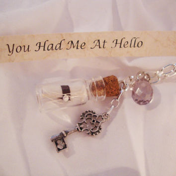 Message In A Bottle Necklace - You Had Me At Hello, Skeleton Key, Swarovski, Silver Chain, Free Shipping in USA, BUY Any 2 Get 1 FREE