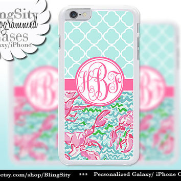 Monogram Lobsters Quatrefoil iPhone 5C 6 Case 6 Plus iPhone 5s 4 case Ipod 4 5 Touch Cover Aqua Pink Coral Pastels Personalized