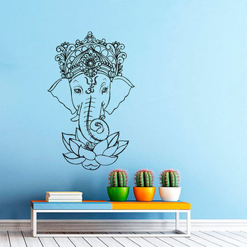 Wall Decal Vinyl Sticker Decals Art Home Decor Mural Indian Elephant Tribal Pattern Om Sign Ganesh Buddha Lotus Yoga Art Bedroom Dorm AN407