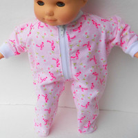 "American Girl Bitty Baby Clothes 15"" Doll Clothes Girl Pink Daisy Bow Zip Up Flannel Pajamas Pjs Sleeper Fall Winter"