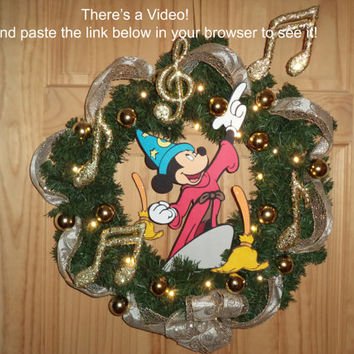 Reduced Price 35.00 Fantasia Mickey With Brooms Wreath / Link with Video in description