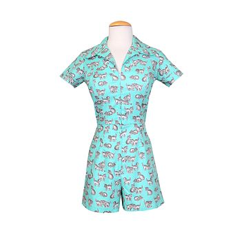 Garage Girl Romper Turquoise Cats