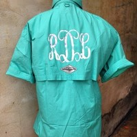 Monogram Fishin' Shirt - Aztec Print: Blush Boutique & Specialty Shop