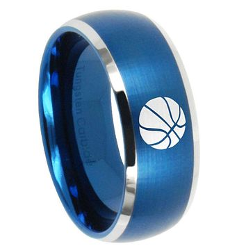 10mm Basketball Dome Brushed Blue 2 Tone Tungsten Carbide Men's Engagement Band