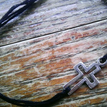 Cross Bracelet with black band