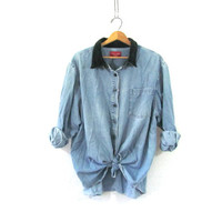 vintage jean shirt. oversized denim shirt. button down shirt. denim pocket shirt with velvet. plus size